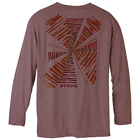 Prana Men's Heathered Graphic LS Tee DECENT FEATURES of the Prana Men's Heathered Graphic Long Sleeve Tee Optimer Dri-Re lease performance fabrication Light weight heather jersey with garment dye Water based screen printed artwork Standard Fit Chose the silhouette, graphic and tee color The SPECS Fabric: 86 Polyester / 14 Cotton 1.68 oz Weight: 4.9 oz - $39.95