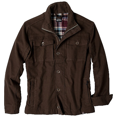 Free Shipping. Prana Men's Lawton Jacket DECENT FEATURES of the Prana Men's Lawton Jacket Soft yet durable moleskin fabrication Flannel lining Herringbone tape trim with slot button details Center front zipper with full front button closure Front hip pockets with zipper closure Adjustable snap cuff Standard Fit The SPECS Fabric: 100 Cotton Weight: 8.4 oz - $158.95