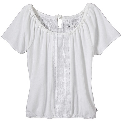 Free Shipping. Prana Women's Jana Top DECENT FEATURES of the Prana Women's Jana Top Lightweight heather jersey Flutter sleeves with lace inset Adjustable back neck tie and elasticized waist The SPECS 60 Organic Cotton / 40 Polyester - $59.95