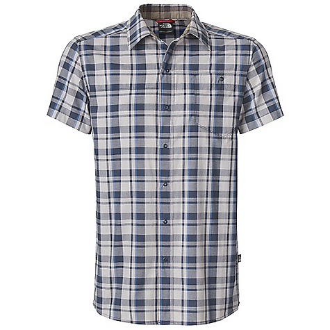 Free Shipping. The North Face Men's S-S Orangahang Woven Top DECENT FEATURES of The North Face Men's Short Sleeve Orangahang Woven Top Sun collar stand Snaps at chest pocket closure and front placket Underarm and side gusset Inner collar contrasting plaid detail Ultraviolet Protection Factor (UPF) 50 The SPECS Average Weight: 7 oz / 198 g Center Back Length: 29.5in. 45D 96 g/m2 (3.38 oz/yd2) 60% cotton, 40% polyester yarn-dye plaid This product can only be shipped within the United States. Please don't hate us. - $59.95
