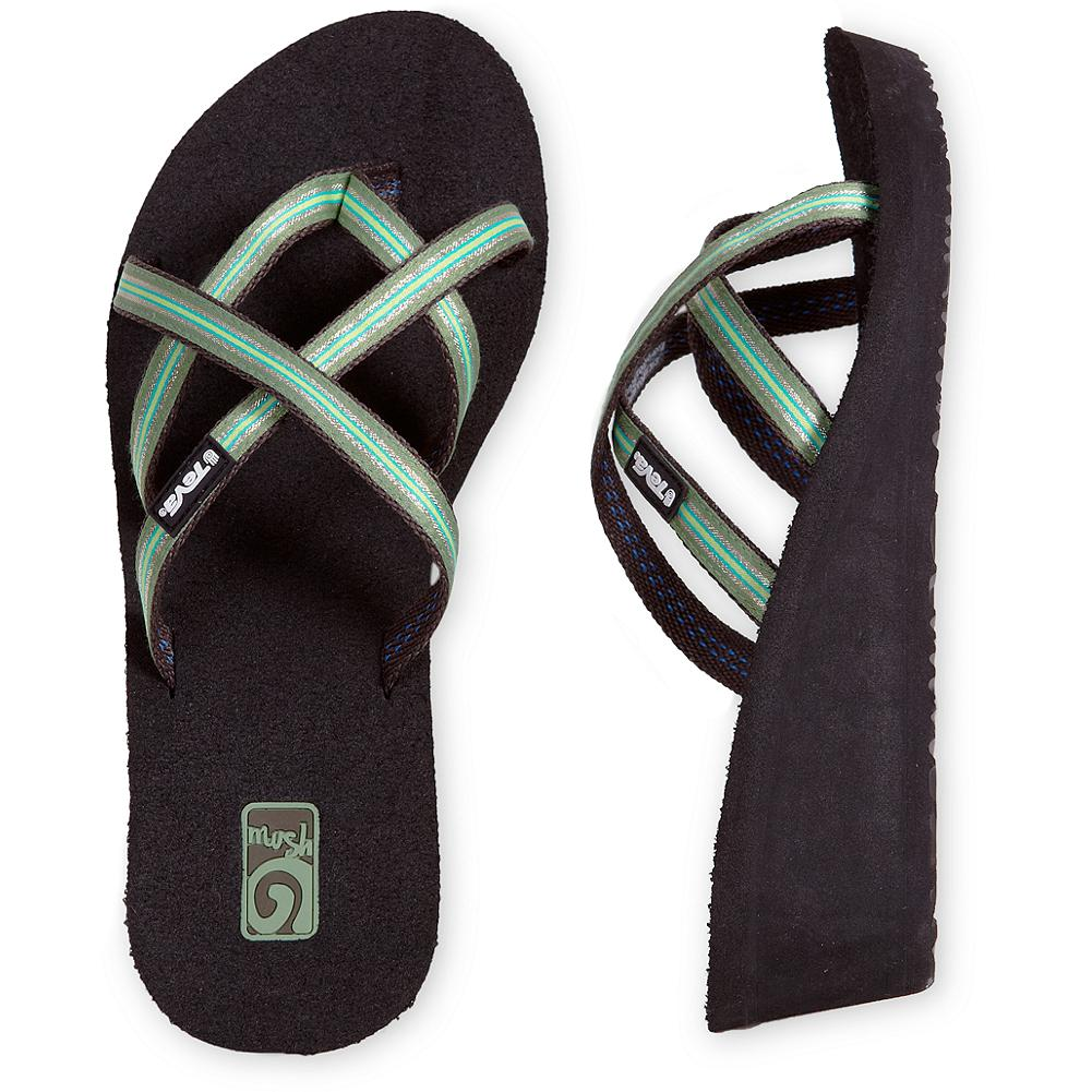 Surf Teva Mandalyn Wedge Sandals - This version of Teva's ever-popular Mush flip-flop is updated with criss-crossing straps and a sleek wedge heel. Nylon upper. Soft Mush top sole and arch support. EVA midsole and Mush Traction sole. - $29.99