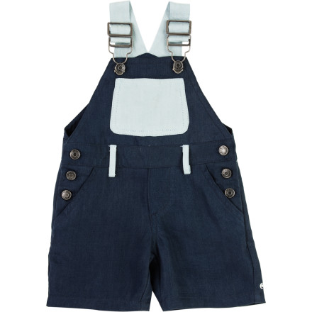 Is there anything more comfy than a denim overall' Yes, the soft, drapey, A For Apple Infant Boys' Double Tencel Dungaree. Combining the great feel and super wrinkle-resistant strength of Tencel with the easy comfort of an overall, this dungaree fits the bill whether it's play, a dinner party, or cruising the living room on all fours. - $77.95