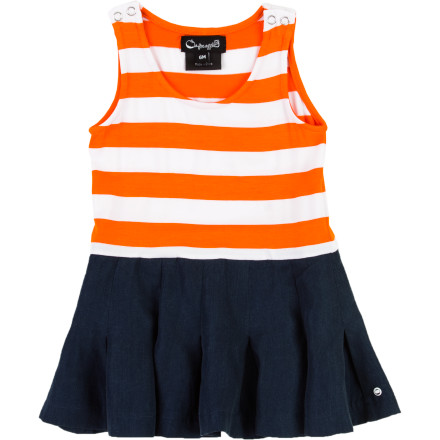 Entertainment Your baby girl doesn't need to be on the court to be a good sport. Dress her in adorable stripes and pleats with the A For Apple Infant Girls' Tennis Dress. Beautiful looks and all-cotton knit construction give this fun frock an abundance of prettiness and practicality. - $57.95