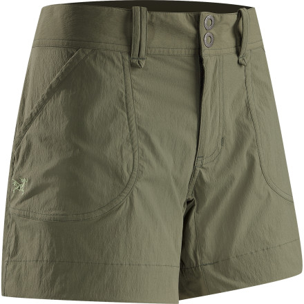 Camp and Hike Whether it be on the trail, wall, or faraway, unfamiliar streets, the performance-oriented Arc'teryx Women's Parapet Short caters to the active woman who wants ultralight durability and unhindered mobility. Made from stretchy TerraTex nylon and spandex and featuring a gusseted crotch and articulated styling, this short will never hold you back. And it breathes and dries in a flash to keep you comfy when you're working hard on that crux or doing laundry on a trip. - $68.95