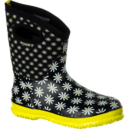 From muddy days outside your mountain cabin to rainy days in the city, pull on the Bogs Women's Classic Daisy Mid Rain Boot before heading out. The Neo-Tech insulation and Max-Wick lining keep your foot warm and dry while the hand-lasted rubber upper provides complete waterproof protection. Even better, integrated pull handles make on and off a cinch. - $79.99