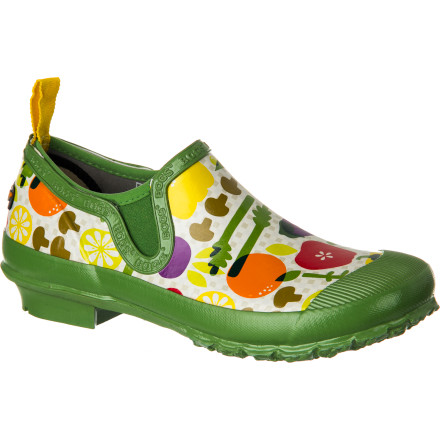 With its blend of slip-on style and uncompromising functionality, the Bogs Women's Rue Garden Ankle Rain Boot is equally suited to weeding muddy flower beds as it is to wandering outdoor farmers markets. The hand-lasted rubber construction provides complete waterproof protection, the contoured EVA insole keeps feet cushioned and comfortable from dawn to dusk, and the ankle height keeps the boot securely on your foot without hindering ankle motion. - $77.99