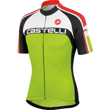 Fitness If the shape of the Castelli Velocissimo DS Jersey is starting to look familiar, that's because it is. From the fabrics to the fit to the hardware, it's the same design as both the Castelli Free and Punto Tre jerseys. If your eyebrow isn't raised yet, like the aforementioned, the Velocissimo DS is the same design found on the backs of Team Garmin Barracuda, only differentiating itself through aesthetic. Castelli constructed the Velocissimo DS from its proprietary Prosecco Strada fabric. This material was selected for three reasons -- its controlled stretch, light, breathable weight, and all-encompassing comfort. Going in order of operations, the controlled stretch of the fabric creates a supportive fit that dampens the effect of road vibration and oscillation in order to minimize muscle fatigue. Additionally, it permits Castelli to maximize the shape of the jersey for the perfect cycling fit. Secondly, Prosecco Strada features a lightweight composition that feels light and airy on the skin, while remaining highly breathable. This has been furthered through the incorporation of subtly placed mesh side panels. So, you don't have to worry about overheating during long, exhaustive efforts in the saddle. However, no matter how good the material, sweat is inevitable. That's why Castelli also gave the jersey its patented Prosecco treatment. This process is a topical, hydrophilic treatment that spreads moisture out over a larger surface area for rapid evaporation. Ultimately, it keeps you cooler and drier over your race or club ride. The Velocissimo jersey has been cut along a race style. In fact, an observant eye can see that the Garmin Barracuda Team jersey features the same cut, fabric, and components as the Velocissimo. But, what makes the fit pro-level' Well, Castelli designed the jersey on a contour -- this is most evident when the jersey is hanging on the rack. So, the seams are shaped to your body while it's in the cycling position. - $74.96