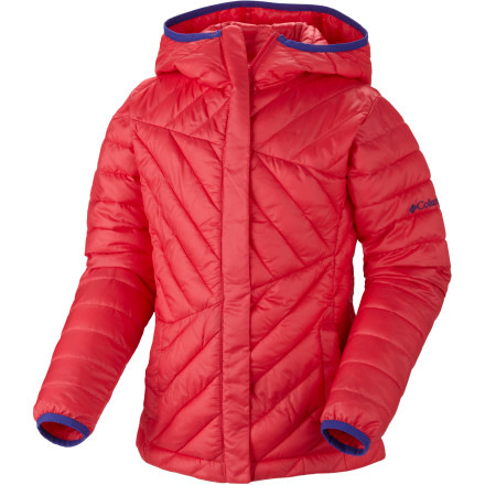 Surf If your toddler has a penchant for shedding her clothes in the summer and resists layering her up in the winter, slide on the Columbia Toddler Girls' Powder Lite Jacket. This lightweight puffy's faux down insulation will keep her toasty in chilly winter weather, even if shes only wearing a tank top underneath. Youll also eliminate the needs for battles over wearing a hat thanks to the cozy insulated hood that shell love snuggling into, especially when its snowing. Should you get caught out in a snowstorm, you can count on the Omni-Shield DWR finish to repel precipitation; it also protects the jacket from the fallout of juice-box-flinging tantrums. - $32.47