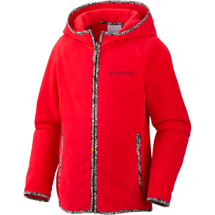 Camp and Hike The light and super-soft Columbia Girls' Fast Trek Fleece Hooded Jacket will keep your favorite girl cozy while on a breezy beach or high-altitude hike. An ample hood snuggles her head, and thumbholes keep her sleeves in place and her hands warm; it also makes a great midlayer when she's skiing or snowshoeing in colder months. - $29.96