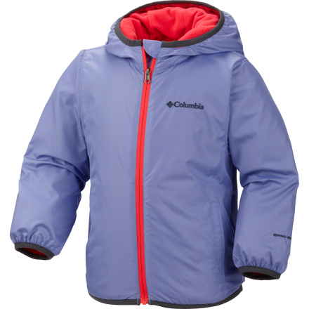Rain or shine, prolong playtime with the Columbia Toddler Girls' Mini Pixel Grabber Jacket. This little cutie features Columbia's foul-weather-tested Omni-Shield advanced repellency coating and a chill-killing yet ultralight microfleece lining to keep your little one dry and comfy. An adjustable storm hood provides great-fitting protection. - $34.95