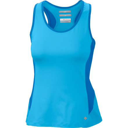 Fitness You may be mad enough to head out in the midday sun, but you're not crazy; you dress in the Columbia Women's Total Zero Tank Top to ensure you stay dry and cool. This sporty racerback tank features Columbia's innovative Omni-Freeze Zero technology, which causes the fabric to cool down as you heat up and start sweating. At the same time, Omni-Wick technology is whisking the moisture away from your skin so you're not only cool but dry, too. Now a noon tennis match or run isn't looking like such a bad idea, after all. - $33.71