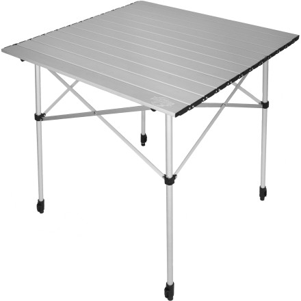 Camp and Hike Instead of using stumps and boulders to prep your food, balance your dinner plates, and play card games at the campsite, simply pack the Crazy Creek Crazy Legs Aluminum Roll-Up Table. The aluminum segments roll out to create a smooth, easy-to-clean work area, and the leg height can be adjusted to accommodate sitting or standing, or uneven terrain. - $58.95