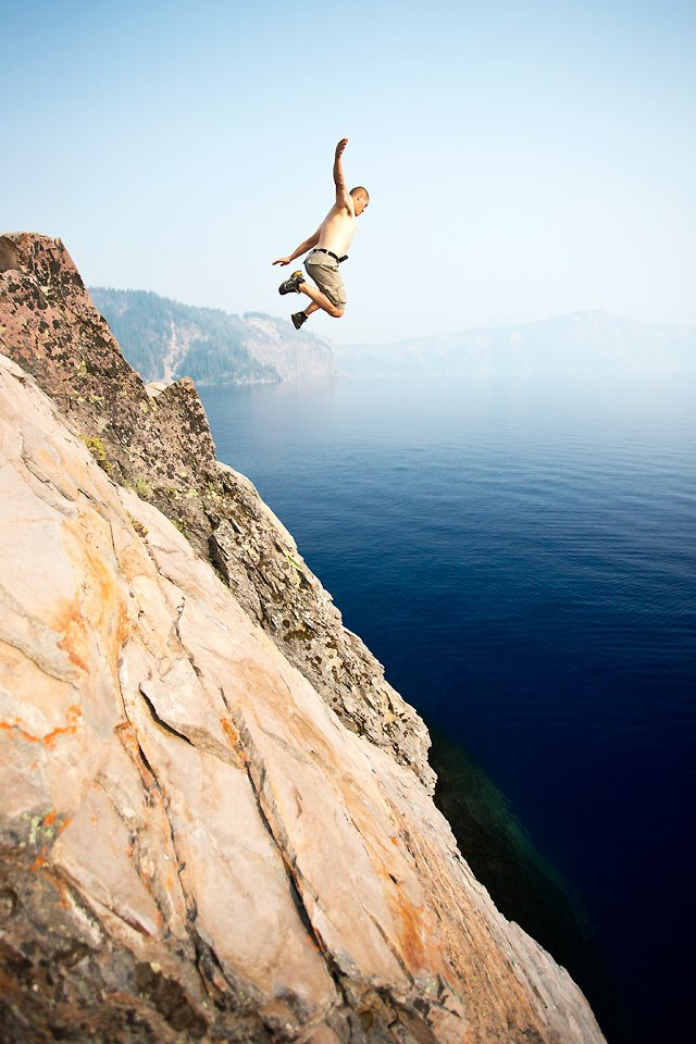 Wake Jumping off a cliff into Crater Lake, Oregon