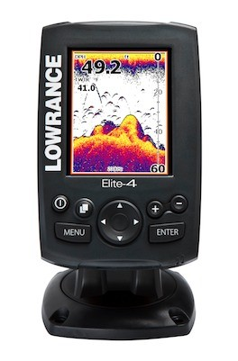 Fishing Lowrance Elite-4 The Elite-4 and Mark-4 Compact Series is a new lineup of compact, dual-frequency fishfinders with DownScan Imaging (DSI) and fishfinder/chartplotter options. Think of the Elite line as the little brothers to the larger HDS units; they've