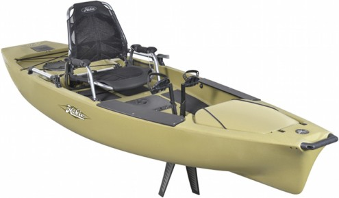 Fishing Hobie's newest kayak is a downsized version of the popular 14-foot model. It's lighter and more maneuverable but lost none of the 14's utility. A plush seat, foot-pedal drive and rudder all are retained, as is the ample rod and tackle storage. These kayak