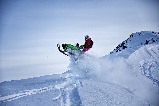 Snowmobile May fun in the Sisimiut backcountry - Greenland.