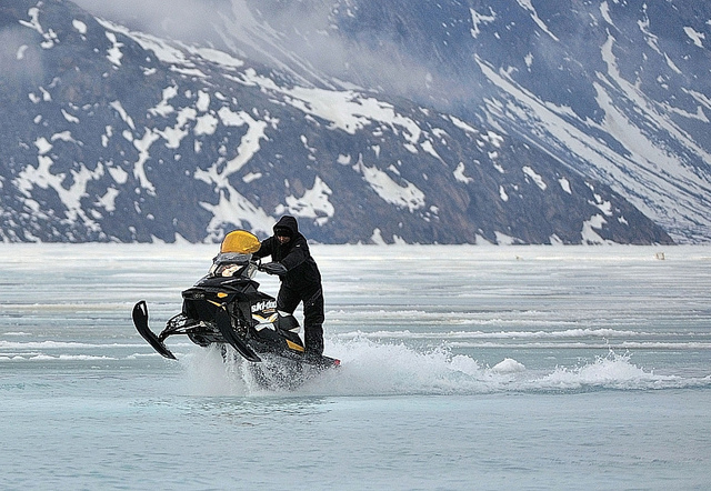 Snowmobile Water Skipping