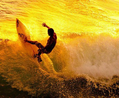Surf Surfing at sunset
