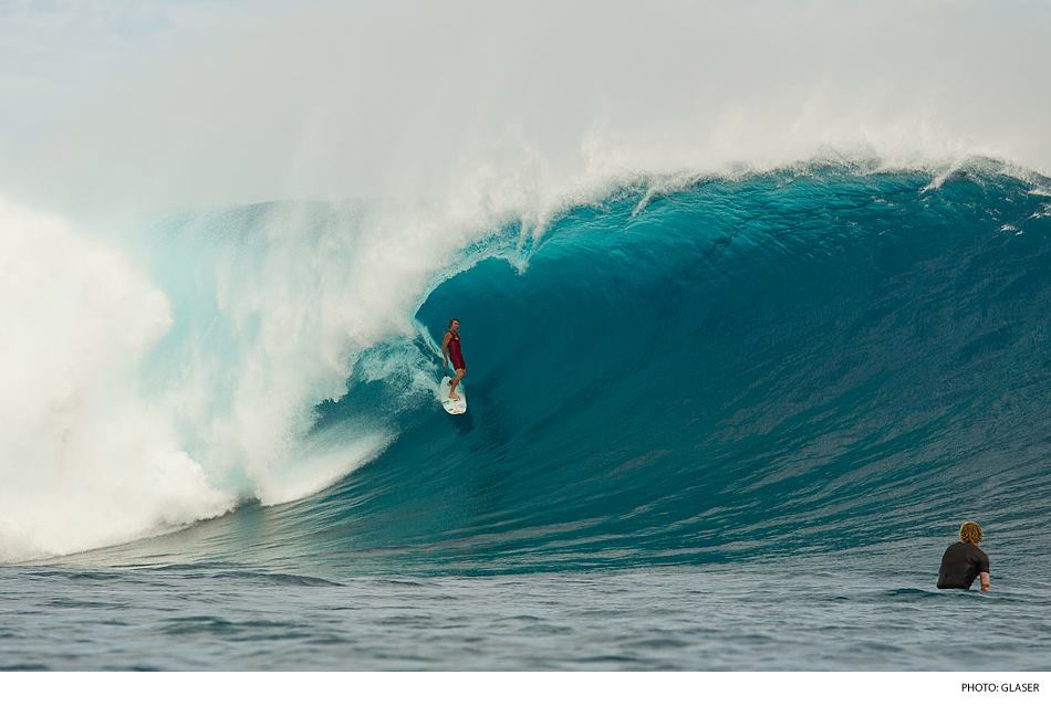 Surf Mark Healey, making his mark on the historic day at Cloudbreak.