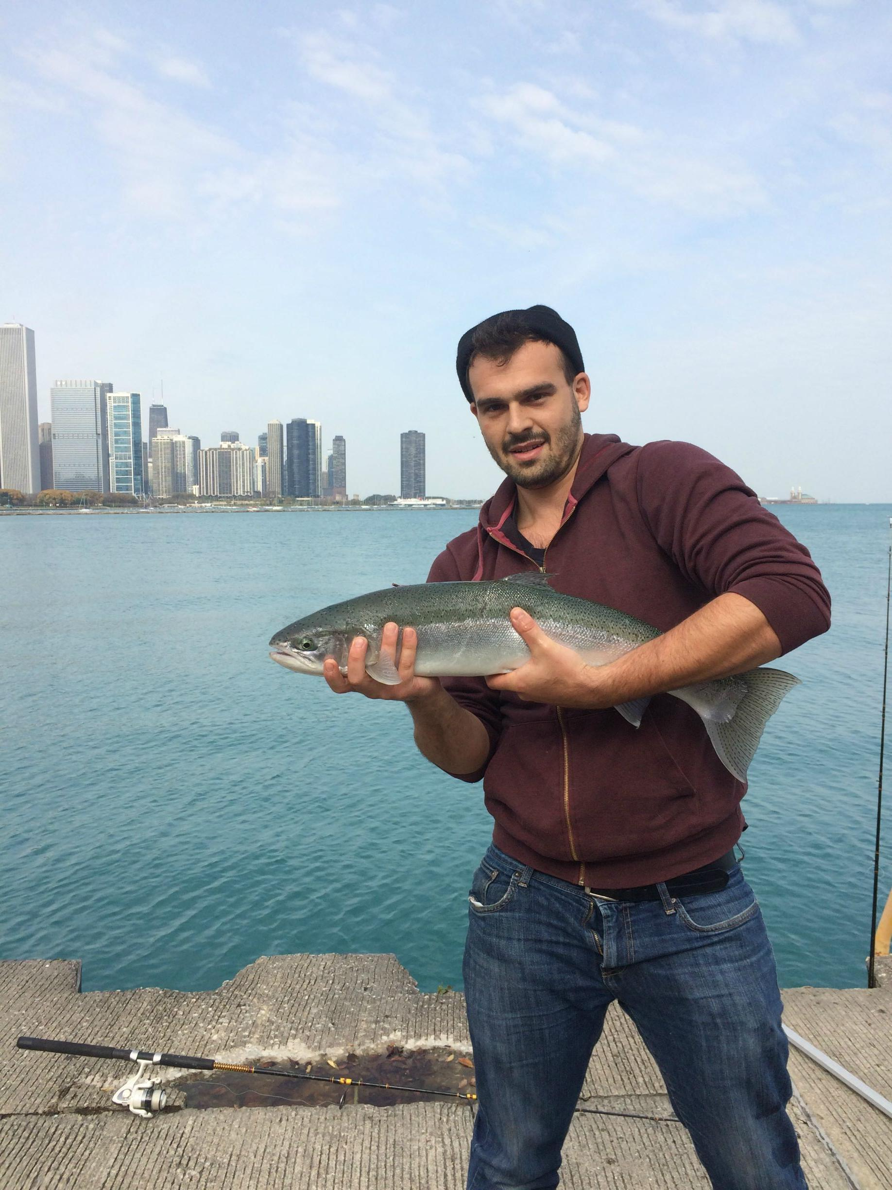Caught a 28 steelhead with my fly open chicago thrill on for Chicago fly fishing