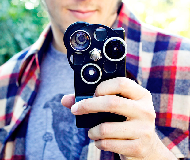 Entertainment iPhone Lens Dial gives you the option of a Wide Angle, Fisheye, or Telephoto lens