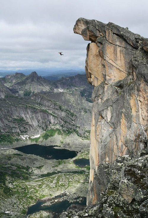 Extreme Base jumping in Ergaki Nature Park in Russia.