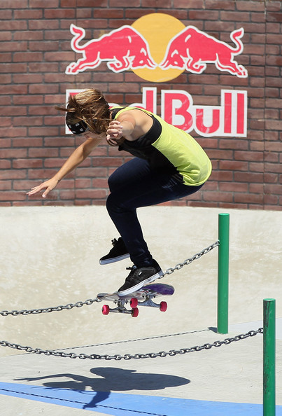 Skateboard Leticia Bufoni competes in the Women's Skateboard Street final during day two of X Games 18 at L.A.