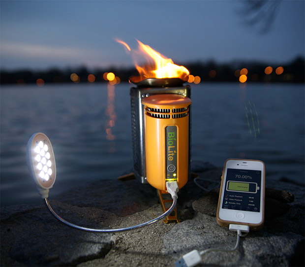 Camp and Hike BioLite CampStove - burns wood, generates electricity to power iPods, phones and such  $129