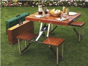 Camp and Hike Tailgate Folding Wooden Picnic Table  $118
