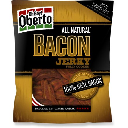 Camp and Hike The savory, salty, delicious flavor of the Oberto All Natural Bacon jerky is the perfect trail snack; just be sure to bring enough for friends. - $7.00