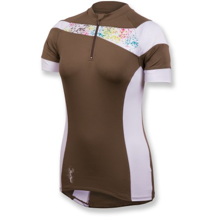 Fitness Whether you're climbing a steep incline or flying down dirt trails, the Pearl Izumi Launch bike jersey offers a smooth, comfortable fit that's ready to tackle all your off-road rides. Lightweight, breathable stretch polyester wicks moisture away from skin and dries quickly, keeping you dry and comfortable even while working hard. Integrated UPF 50+ sun protection continuously guards against harmful ultraviolet rays. Partial zip provides immediate ventilation when you need to cool off. Zippered side pocket secures small essentials such as energy gels, ID or small media player. Closeout. - $10.73