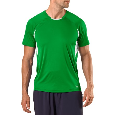Fitness When it's go time, you'll reach for the REI Airflyte T-shirt to supply quick-drying comfort. Smooth recycled fabric wicks moisture to keep you dry while you exercise, and quick-drying mesh fabric under arms and along back adds ventilation. Fabric provides UPF 50+ sun protection, shielding skin from harmful ultraviolet rays. Flat seams reduce chafing, and raglan sleeves enhance freedom of motion. Locker loop hangs shirt out to dry and manages earphone cord. Reflective details increase visibility in dim light. The active fit of the REI Airflyte T-shirt moves with you during exercise. - $23.93