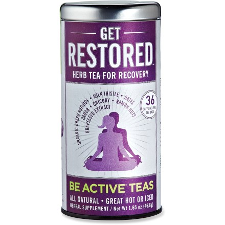 Camp and Hike This collection of Be Active teas from The Republic of Tea contains 36 round, unbleached caffeine-free herbal tea bags. Get Restored(TM) flavor promotes recovery after activity. Get Restored includes a base of organic green rooibos, combined with ramon nuts, chicory root, carob, dates, stevia, grape seed extract and milk thistle seeds. Get Limber(TM) flavor promotes joint, ligament and muscle health. Get Limber includes organic green rooibos, tumeric, cat's claw root, yucca extract and ginger root. Get Active(TM) flavor promotes endurance during activity. Get Active flavor includes organic green rooibos, holy basil, licorice and maca root. Nutrition facts displayed here and on packaging may differ; information on packaging reflects actual contents. *Discount will be applied when you check out; offer not valid for sale-price items ending in $._3 or $._9. - $8.93