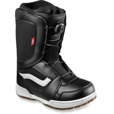 Snowboard The kids' Vans Encore all-mountain snowboard boots provide great performance and easy-to-use Boa(R) lacing. Perfect for mini shredders who want to get on the mountain fast! - $54.83