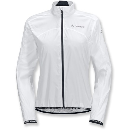 Fitness The VAUDE Air women's bike jacket helps block the wind and sheds light precipitation without weighing you down. Polyamide fabric offers light protection from sudden sprinkles. Full-length front zip ensures easy ventilation while riding. Stretch hem and cuffs. Includes a small stuff sack for convenient storage when not in use. Closeout. - $49.93