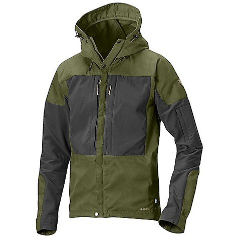 Free Shipping. Fjallraven Men's Keb Jacket FEATURES of the Fjallraven Men's Keb Jacket Advanced trekking jacket G-1000 Eco (recycled polyester/organic cotton) on front, shoulder and part of sleeves Stretch in the back part for full freedom and ventilation Easy open and close two-way side/pit ventilation The fixed tunnel hood has three-way adjustment The two-way CF zipper is covered by a placket that has press button for extra security The big chest pocket has stretch to the outside that gives extra volume 1 zip pocket on the sleeve for communication equipment Adjustable at bottom hem Leather details - $299.95