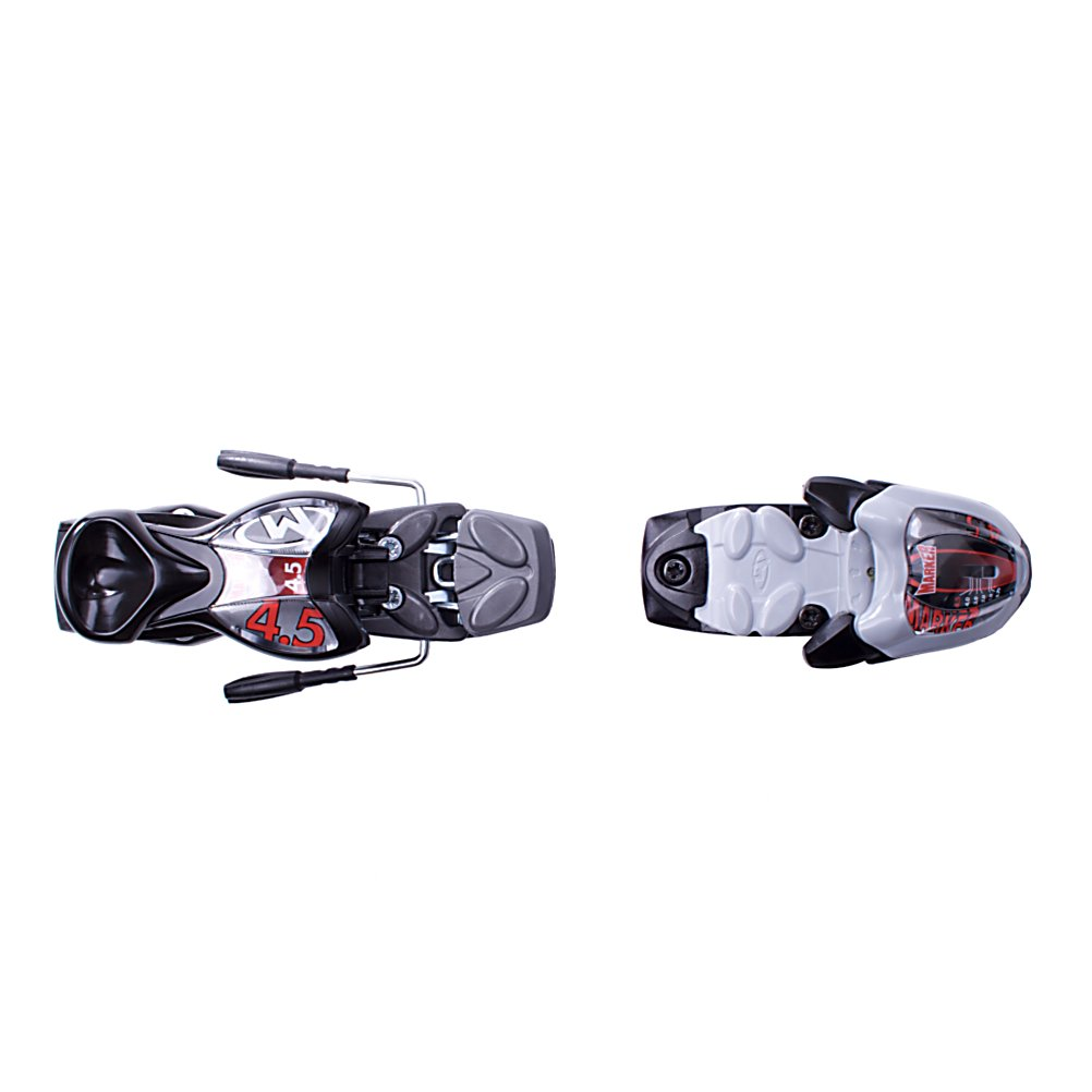 Ski Marker M4.5 Junior Ski Bindings - Designed for the smallest champions on the hill, these junior bindings feature a low release-setting to accommodate a child's small size and weight. This motion system works by allowing easier, more round ski flex. Easier flex allows balanced edge pressure to the snow surface, which gives the skier better control though precise pressure distribution over the length of the edge. . Warranty: One Year, Gender: Kids, Features: Quick Release Heel, Max Din Setting: 4.5, Plate Height: 18mm, Housing Material: Plastic, Binding Weight: 1280 grams /pair, Recommended Weight Range: 29-125 lbs., Race: No, Category: Downhill, Actual Din Range: 0.75-4.5, Ski Gear Intended Use: All Mountain, Model Year: 2012, Product ID: 88648 - $69.00