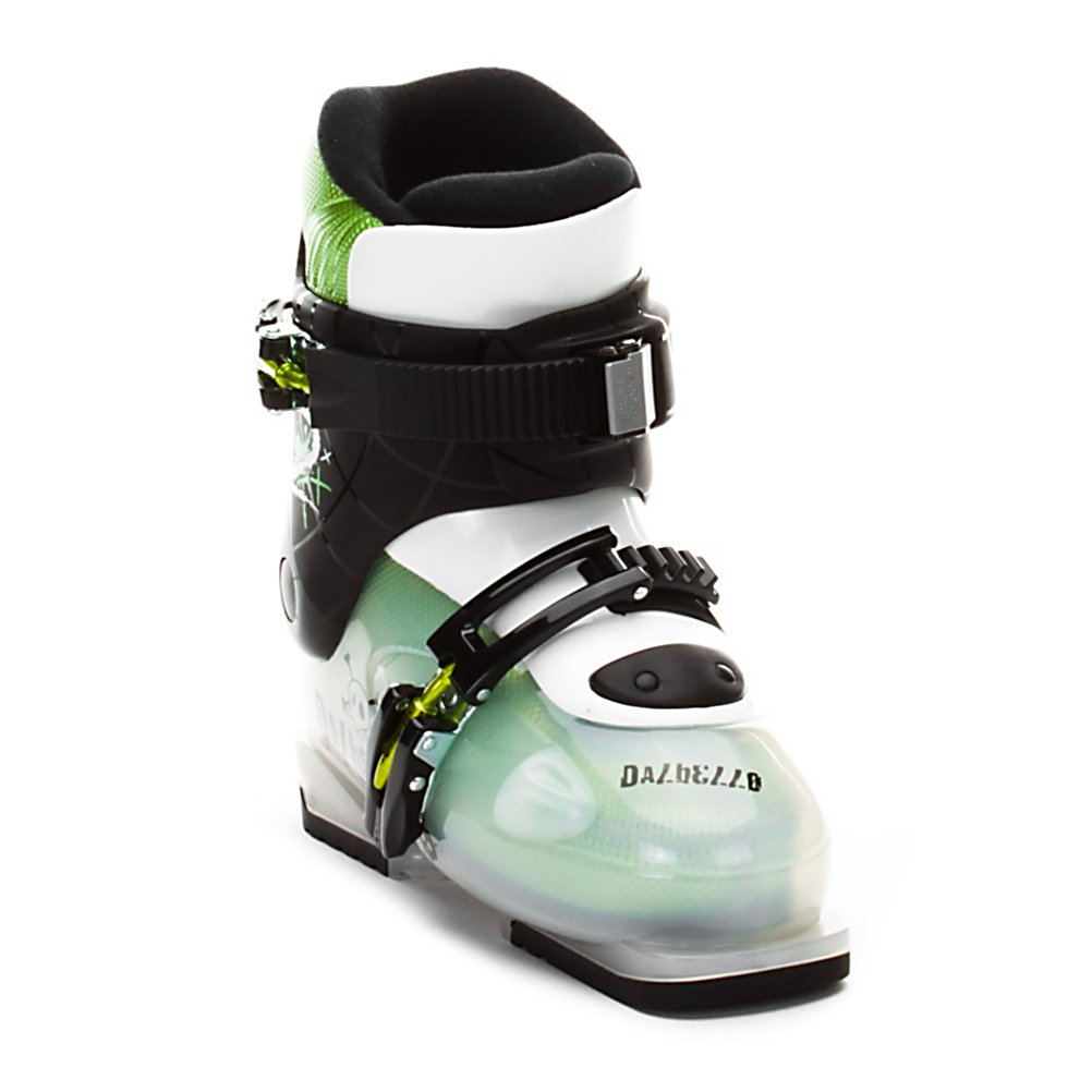 Ski Dalbello Menace 2 Kids Ski Boots - The Menace 2 was built with the small skier, and their parents, in mind. For the the kid's the Menace 2 is ultra lightweight thanks to the plastic buckles and Polytec Lite shell and cuff. To make the shell even better Dalbello uses an indexed flex system to make certain that each size will flex perfectly for the little guys, meaning it is easier to stay in a proper skiing position. For the parents the Menace 2 starts with the very warm and waterproof Super Comfort Liner to keep toes warm and smiles big, but the best part is the ratchet style upper buckle and pull away tongue. These both work together making the boot incredibly easy to get on and offer the same ease to buckle up. While the Menace 2 is not meant for aggressive kids it does work wonders to transition away from rental equipment or for first-timers through good intermediate skiers. . Lining Material: Super Comfort Liner, Actual Flex: Indexed By Size, Cuff Alignment: None, Warranty: One Year, Gender: Kids, Special Features: Super Light Design, Type of Boot: Recreational, Ski Boot Width: Junior, Shell Material: Polytec Lite, Buckle Count/Type/Material: 2/One Ratchet One Fixed/Plastic, Features: None, Special Features: Indexed Flex, Flex: Soft, Race: No, Used: No, Ski/Walk: No, Prewired For Heat: No, Number of Micro Buckles: None, Freestyle: No, Sidecountry: No, Forefoot Width: Not Specified, Flex Adjustment: No, Buckle Count: 2, Buckle Material: Plastic, Category: Downhill, Ski Gear Intended Use: All Mountain, Skill - $76.97