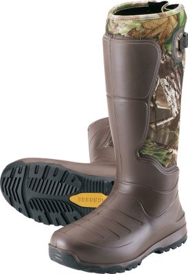 Hunting Learn more about LaCrosse Rubber Boots Lightweight, insulated and scent-free, the LaCrosse AeroHead Rubber Boots are comfortable and durable without extra bulk and weight. AeroForm technology a revolutionary liquid polyurethane thats shaped over 3.5mm neoprene is responsible for these boots light weight and flexibility to give you a glovelike fit. Brush Tuff bidirectional material makes them highly abrasion-resistant, and Armor Weld liquid-rubber protective coating seals the seams. The design of the boots provides 100% waterproof protection and uncompromising scent protection. Quick-drying, moisture-wicking jersey-knit liners make them even more comfortable during extended wear. Injected polyurethane midsoles add cushioning, while integrated shanks in the arches provide support and stability over rigid and rocky terrain. Aero nonloading outsoles are made of a lightweight rubber compound for even more durability and traction in slippery conditions. Adjustable back gussets and straps help you customize the fit. 100% polyester linings. Imported. Ht: 18. Avg. wt: 4 lbs./pair. Mens whole sizes: 8-13. Camo pattern: Realtree XTRA Green. Size: 11. Color: Camo. Gender: Male. Age Group: Adult. Pattern: Camo. Material: Polyester. Type: Boots. - $127.99