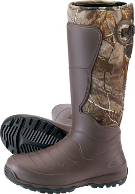 Hunting Learn more about LaCrosse Rubber Boots Lightweight, insulated and scent-free, these AeroHead rubber boots are comfortable and durable without extra bulk and weight. LaCrosse Aeroform technology a revolutionary liquid polyurethane thats shaped over 7mm neoprene is responsible for these boots light weight and flexibility to give you a glovelike fit. Brush Tuff bidirectional material makes them highly abrasion-resistant, and Armor Weld liquid rubber protective coating seals the seams. The design of the boots provides 100% waterproof protection and uncompromising scent protection. Quick-drying, moisture-wicking jersey knit liners make them even more comfortable during extended wear. Injected polyurethane midsoles add cushioning, while integrated shanks in the arches provide support and stability over rigid and rocky terrain. Aero nonloading outsoles are made of a lightweight rubber compound for even more durability and traction in slippery conditions. Adjustable back gussets and straps help you customize the fit for your legs. Liners are 100% polyester. Imported. Height: 18. Average weight: 5 lbs./pair. Mens whole sizes: 8-13. Camo pattern: Realtree XTRA. Size: 12. Color: Camo. Gender: Male. Age Group: Adult. Pattern: Camo. Material: Polyester. Type: Boots. - $135.99