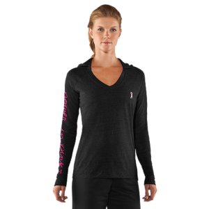 Fitness UA Power In Pink(TM) celebrates the women who use sports, fitness, and an active lifestyle in their fight against breast cancer. Join the fight along side these ladies by gearing up and going out in these great pieces from our UA Power In Pink(TM) collection. Power In Pink(TM) product: A portion of all proceeds are donated to national breast cancer charities and medical centersSuper-comfortable tri-blend fabric has a soft, athletic feel for unrivaled UA performanceSignature Moisture Transport System wicks sweat so it dries faster than ordinary cottonLightweight stretch construction improves mobility for full range of motionAnti-odor technology keeps your gear fresher, longerGenerous 2-piece hood for extra coverage from the coldRaglan sleeves unlock mobility for serious range of motion POWER IN PINK script on right sleeve with She's A Fighter(TM) neck tape4.08 oz Polyester/Cotton/RayonImported - $29.99