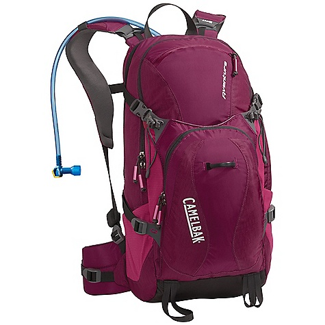 Camp and Hike On Sale. Free Shipping. CamelBak Women's Aventura 100oz Hydration Pack DECENT FEATURES of the CamelBak Women's Adventura 100oz Hydration Pack Back Panel: N.V.I.S. Harness: Women's-Fit Dynamic Suspension Belt: Semi-load bearing S-Curve women's Harness Trekking Poles Hike essentials organizer pocket Sun glasses Ice AXE Designed to Carry: Extra Layers, Rain Gear, Food, Head Lamp, Trail Maps, Ice axe, Trekking Poles, Media, Sunglasses Suggested Load Range: 10-25 lbs The SPECS Hydration Capacity: 100 oz / 3 L Total Capacity: 1465 cu in. / 24 L Weight: 2.25 lbs / 1.02 kg Torso Length: 17.5 in. / 44 cm Fabric: 100D Rain Dobby Fabric: 230D Taffeta and 420D Nylon with DWR + 1000mm PU coating - $105.00
