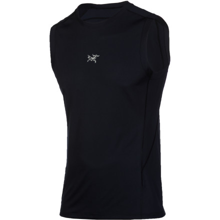The Arc'teryx Men's Motus Sleeveless Shirt uses high-tech Phasic SL fabric to quickly manage moisture and help your body stay cool and dry. This shirt won't leave you with that slimy feeling you can get from some synthetic tops thanks to intelligent placement of dry, soft fibers next to your skin. The sleeveless cut lets you show off your guns or at least cool them off in the fresh air when you're working up a sweat. - $58.95