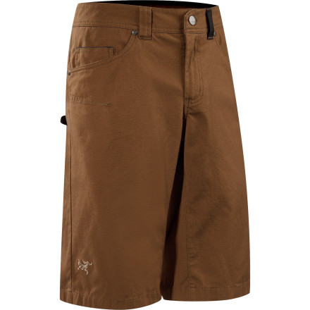 Camp and Hike Durable cotton canvas construction makes the Arc'teryx Men's Spotter Long Shorts tough enough to last seasons of agro approaches and all-day bouldering sessions. Arc'teryx gave the Spotter Long Shorts a knee-length inseam and gusseted crotch to help you move freely whether you're sending on the small stone or roping up for a sport route. - $88.95
