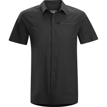 Camp and Hike Pull your Arc'teryx Short-Sleeve Adventus Comp Shirt out of your pack and snap yourself into its clean style and total comfort. Smart fabrics help you regulate your temperature whether you're wandering through a tropical jungle or hiking in Utah's desert heat. The soft fabric has a casual look so this shirt is great for office days and lunchtime golf games, too. - $98.95
