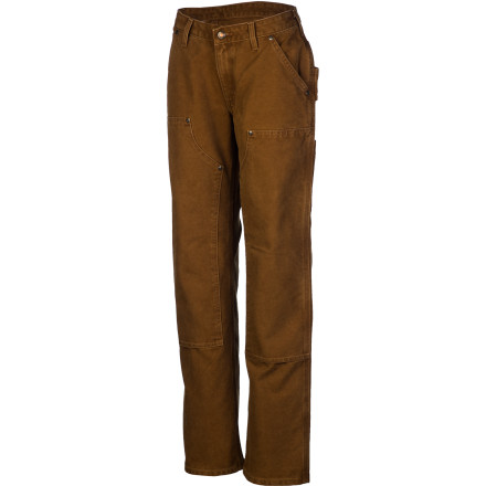 Hunting When spring arrives to reveal a mountain of yard work and DIY projects, pull on the Carhartt Women's Sandstone Carpenter Pant, roll up your sleeves, and show the yard who's boss. The classic Carhartt Heavyweight duck fabric has triple-stitching along the main seams for unrivaled durability and the multiple utility pockets keep your essential tools close at hand. - $44.99