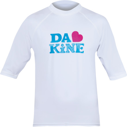 Surf If you plan on swimming, surfing, or wakeboarding for hours on end, put on the DAKINE Girls' Heart Rashguard to shield your skin from the sun's dangerous rays and to provide an extra layer of warmth when the wind kicks up. - $24.95