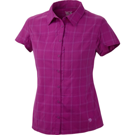 Fitness Lightweight, wrinkle-resistant, quick-drying, and durable, the Mountain Hardwear Women's Terralake Shirt puts durable performance behind its flattering feminine silhouette. Fun and functional, the flip-up collar shades you from the sun, as does UPF 50, for those bluebird days. Seams that rotate away from pressure points won't chafe under a pack, and darts add shape'because there's no law against looking great when you summit a rugged peak. - $64.95