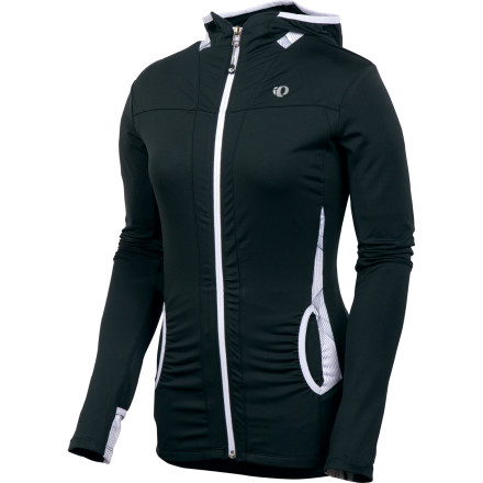 Fitness For chilly-weather versatility, it's tough to beat the Pearl Izumi Aurora Lightweight Hooded Shirt. The Aurora can be worn under a shell as an insulating, moisture-wicking base layer, on its own as a comfortable next-to-skin jersey, or over another jersey as a protective shell. Pearl Izumi's legendary Select Transfer fabric is the real star of the show, here. With light stretch and moisture-wicking properties that have become industry standard, Select Transfer keeps you dry and comfortable in a wide variety of weather conditions.Pearl's Select Transfer fabric makes the shivers from freezing wind gusts a thing of the past. This is due in part to its quick-drying abilities. The Select material manages moisture while retaining precious body heatan important characteristic when early-season training rides are accompanied by chilly temps. You'll also notice the full-length zipper, which not only makes it easier to get in and out of the Aurora, but allows you to dump heat in a hurry. Just when you think that long, tedious climb has you beaten, unzip the front of the Aurora a bit and feel the cooling breezes bring you back to life. The Aurora top can be used off the bike, as well. Instead of the traditional triple-rear-pockets design, the Aurora has two hand pockets in front and one on the side, which adds a bit of casual versatility. The Pearl Izumi Womens Aurora Lightweight Hooded Shirt comes with reflective elements for better visibility in low-level lighting. It is available in seven rich color choices: Green Flash/black, White/coral, White/black, Shadow Grey/pink punch, Peacock/black, Black/white, Black/dahlia. It comes in sizes X-Small through X-Large. - $42.48