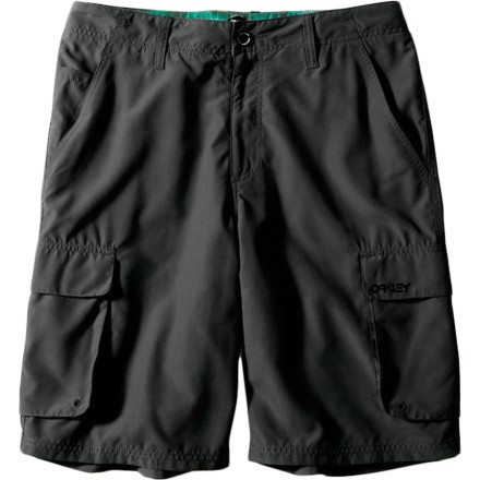 Camp and Hike Do you wish you could have lightweight, quick-drying shorts like your boardies when you partake in the long list of favorite out-of-water activities Well, you shouldn't settle for heavy materials that chafe when wet, because the Oakley Men's Wheelie Cargo Short is built to suit your adventurous side. Thanks to the quick-drying polyester and gusseted crotch, you can take a hike, stop for a dip in a stream, and skate in the afternoon without ever taking off the Wheelie short. - $55.00